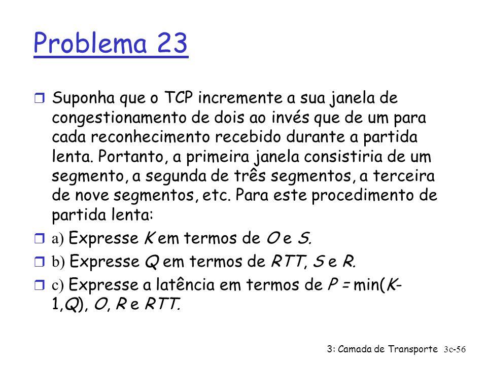 3: Camada de Transporte3c-56 Problema 23 r Suponha que o TCP incremente a sua janela de congestionamento de dois ao invés que de um para cada reconhec
