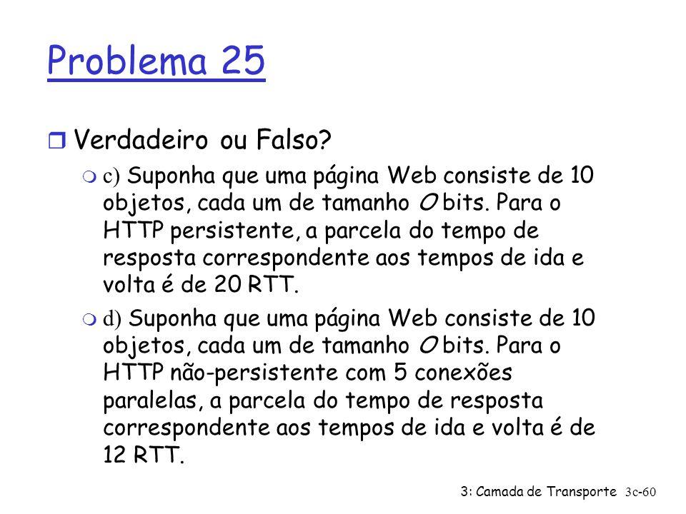 3: Camada de Transporte3c-60 Problema 25 r Verdadeiro ou Falso? c) Suponha que uma página Web consiste de 10 objetos, cada um de tamanho O bits. Para