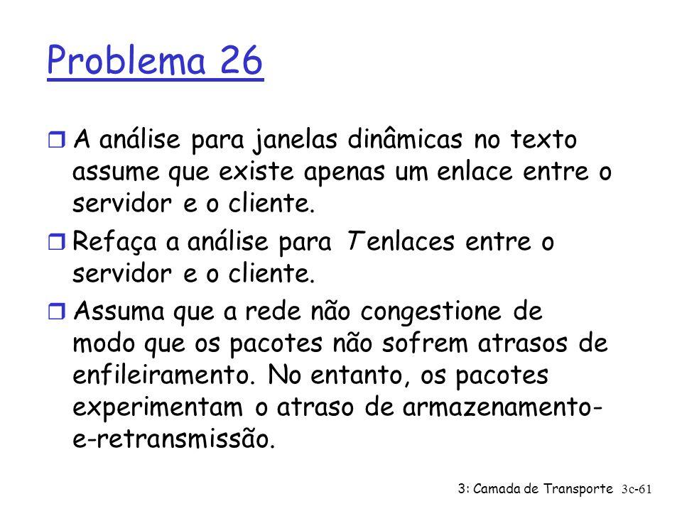 3: Camada de Transporte3c-61 Problema 26 r A análise para janelas dinâmicas no texto assume que existe apenas um enlace entre o servidor e o cliente.