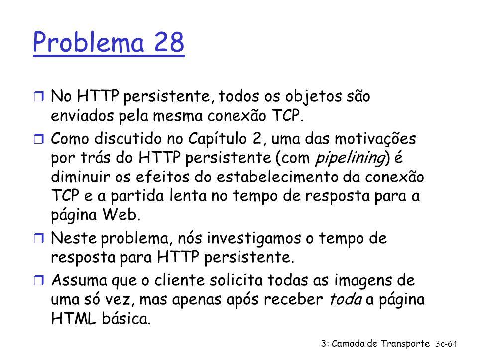 3: Camada de Transporte3c-64 Problema 28 r No HTTP persistente, todos os objetos são enviados pela mesma conexão TCP. r Como discutido no Capítulo 2,