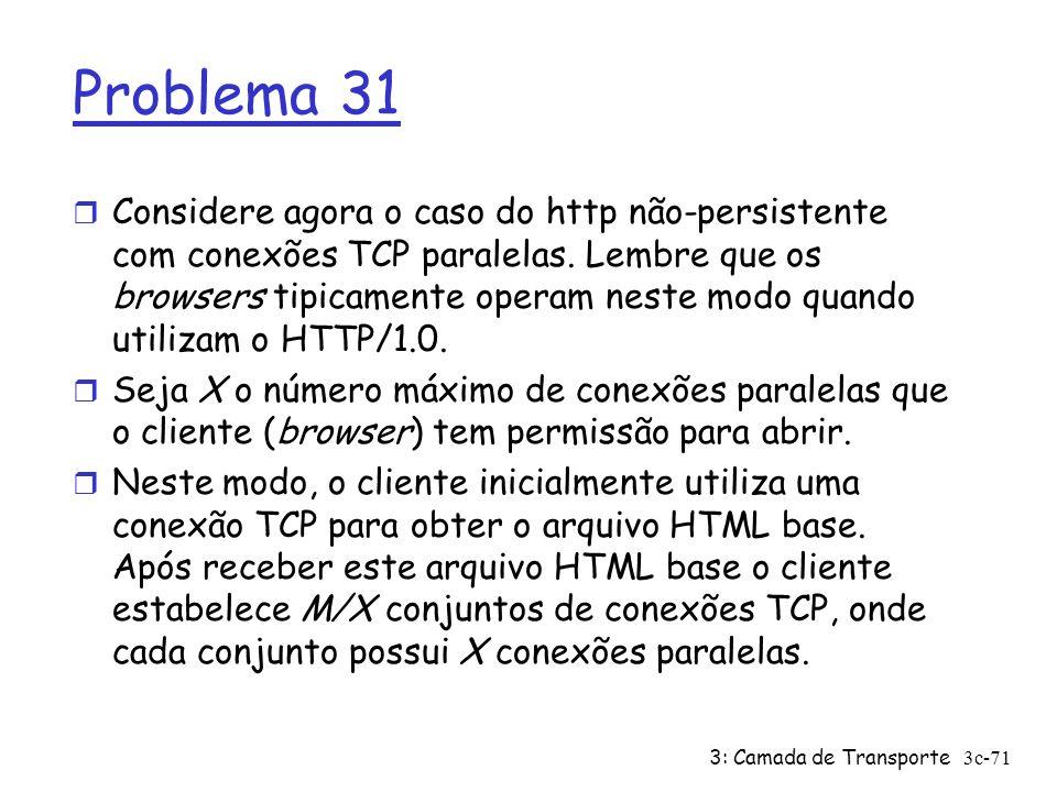 3: Camada de Transporte3c-71 Problema 31 r Considere agora o caso do http não-persistente com conexões TCP paralelas. Lembre que os browsers tipicamen