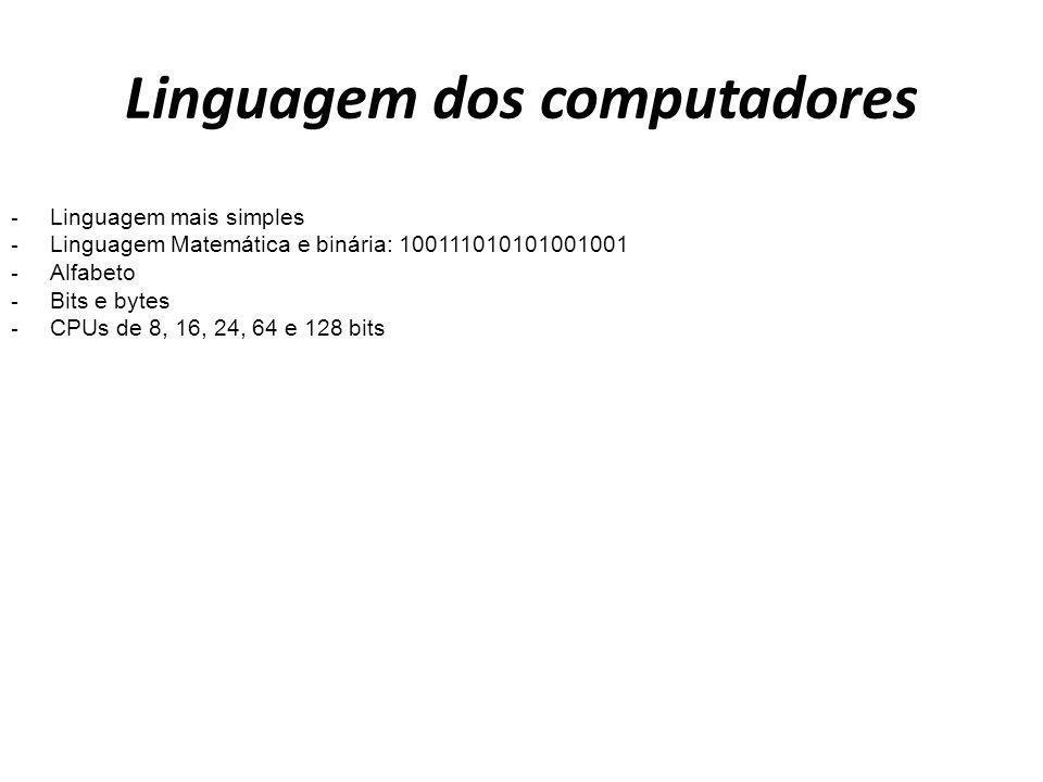 Linguagem dos computadores - Linguagem mais simples - Linguagem Matemática e binária: 100111010101001001 - Alfabeto - Bits e bytes - CPUs de 8, 16, 24
