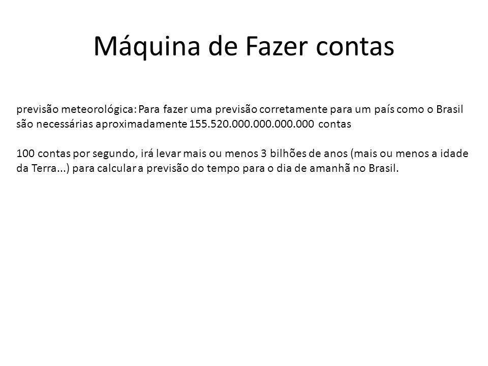 Máquina de Fazer contas previsão meteorológica: Para fazer uma previsão corretamente para um país como o Brasil são necessárias aproximadamente 155.52
