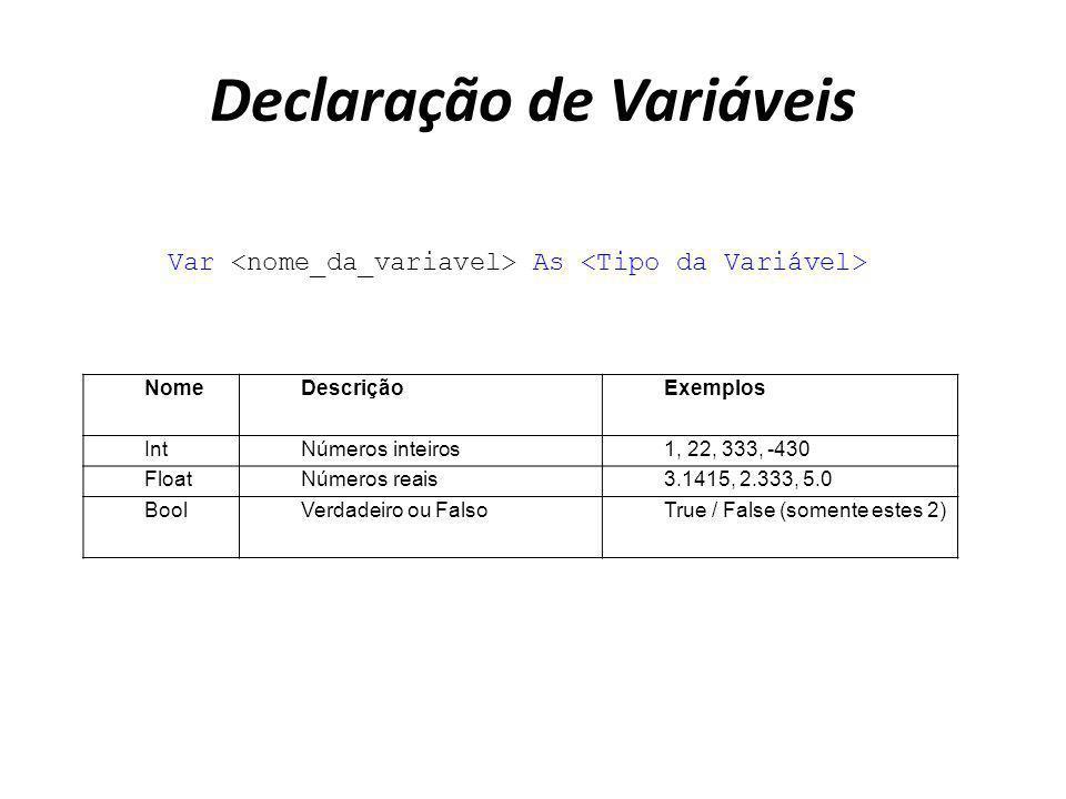 Declaração de Variáveis Var As NomeDescriçãoExemplos IntNúmeros inteiros1, 22, 333, -430 FloatNúmeros reais3.1415, 2.333, 5.0 BoolVerdadeiro ou FalsoT