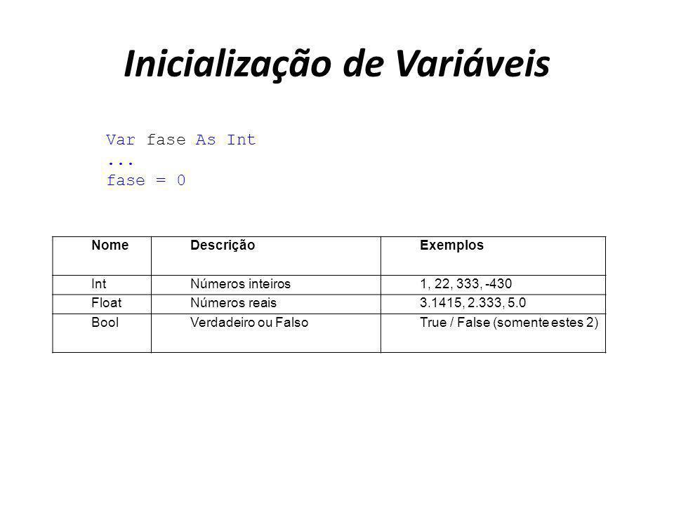 Inicialização de Variáveis Var fase As Int... fase = 0 NomeDescriçãoExemplos IntNúmeros inteiros1, 22, 333, -430 FloatNúmeros reais3.1415, 2.333, 5.0