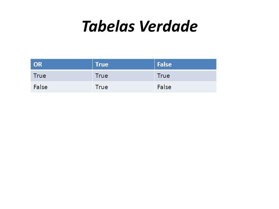 Tabelas Verdade ORTrueFalse True FalseTrueFalse