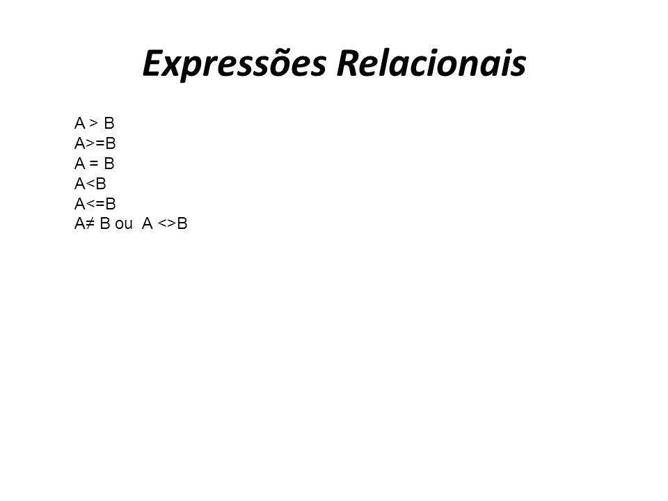 Expressões Relacionais A > B A>=B A = B A<B A<=B A B ou A <>B