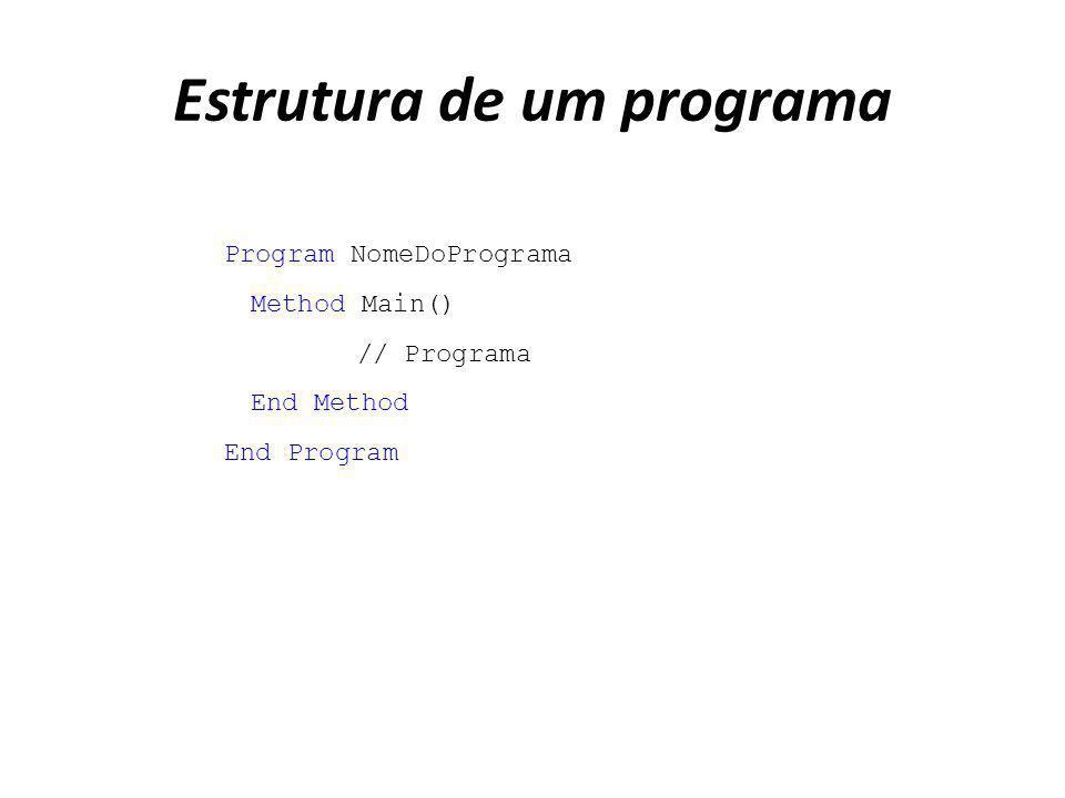 Estrutura de um programa Program NomeDoPrograma Method Main() // Programa End Method End Program