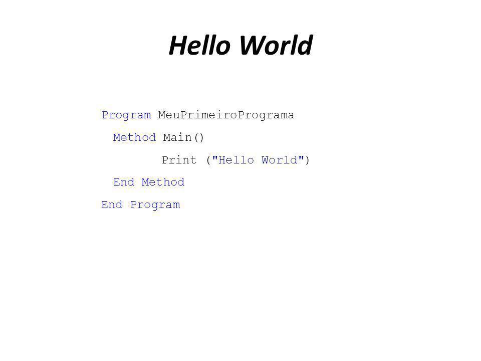 Hello World Program MeuPrimeiroPrograma Method Main() Print (
