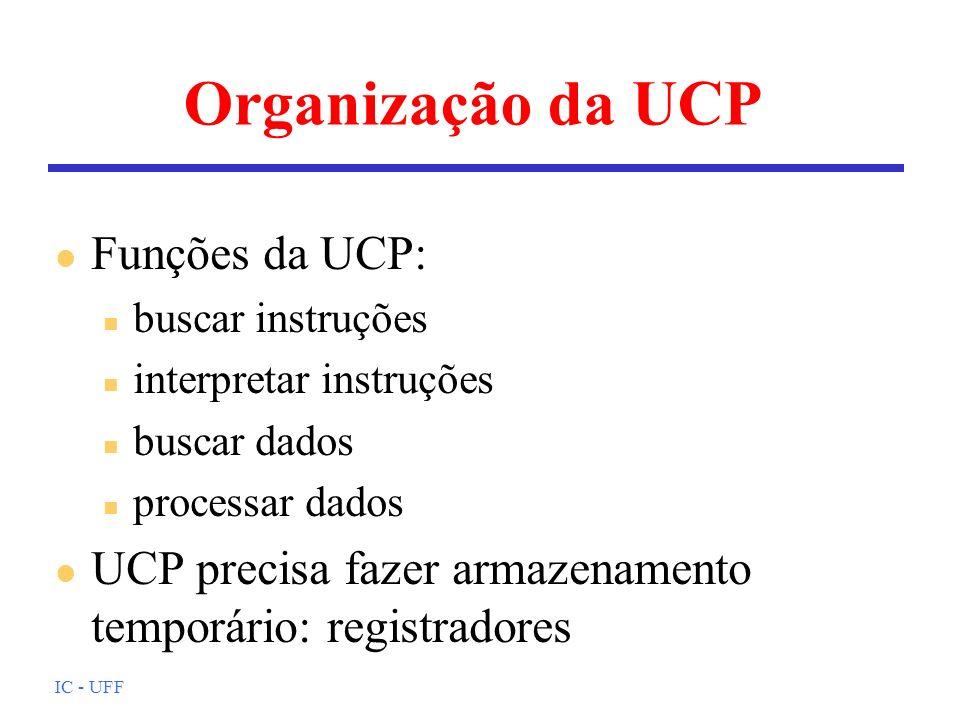 IC - UFF Organização da UCP l Funções da UCP: n buscar instruções n interpretar instruções n buscar dados n processar dados l UCP precisa fazer armazenamento temporário: registradores