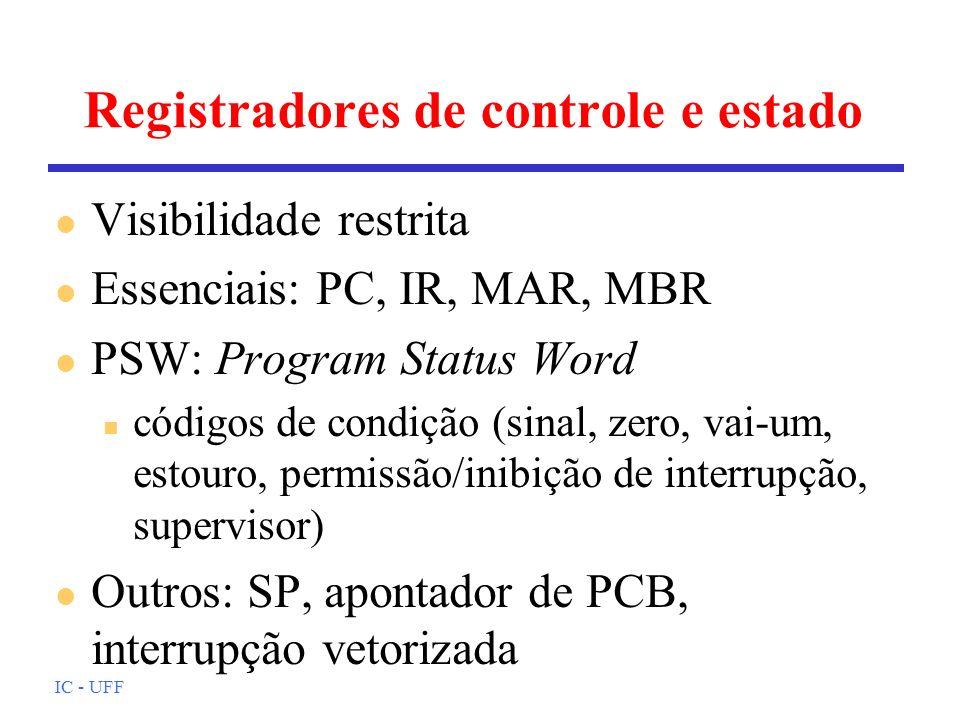IC - UFF Registradores de controle e estado l Visibilidade restrita l Essenciais: PC, IR, MAR, MBR l PSW: Program Status Word n códigos de condição (sinal, zero, vai-um, estouro, permissão/inibição de interrupção, supervisor) l Outros: SP, apontador de PCB, interrupção vetorizada