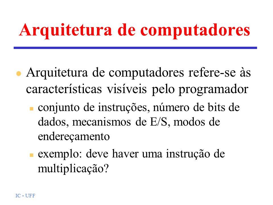 IC - UFF Arquitetura de computadores l Arquitetura de computadores refere-se às características visíveis pelo programador n conjunto de instruções, número de bits de dados, mecanismos de E/S, modos de endereçamento n exemplo: deve haver uma instrução de multiplicação?