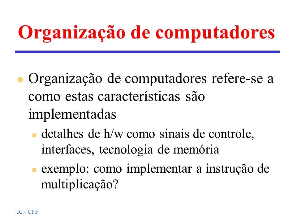 IC - UFF Organização de computadores l Organização de computadores refere-se a como estas características são implementadas n detalhes de h/w como sinais de controle, interfaces, tecnologia de memória n exemplo: como implementar a instrução de multiplicação?