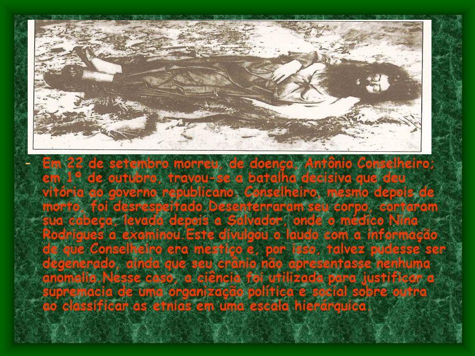 - O Governo Federal resolve intervir.Moreira César,um herói do exército brasileiro da revolta da armada e da Revolta federalista, no governo de Floria
