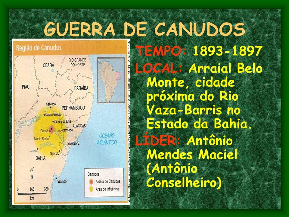 GUERRA DE CANUDOS TEMPO: 1893-1897 LOCAL: Arraial Belo Monte, cidade próxima do Rio Vaza-Barris no Estado da Bahia.
