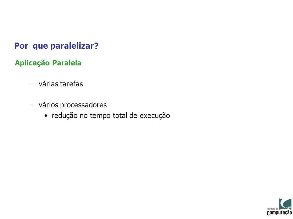 Por que paralelizar? Aplicação Paralela –várias tarefas –vários processadores redução no tempo total de execução