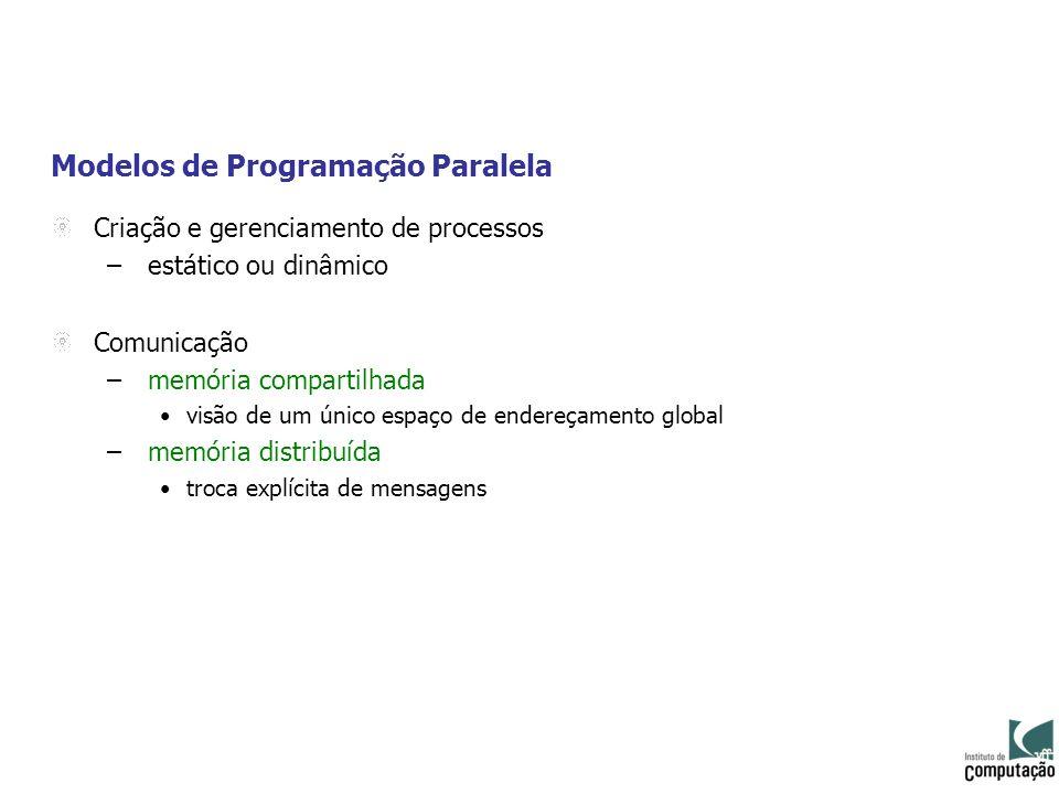 Modelos de Programação Paralela Criação e gerenciamento de processos – estático ou dinâmico Comunicação – memória compartilhada visão de um único espa