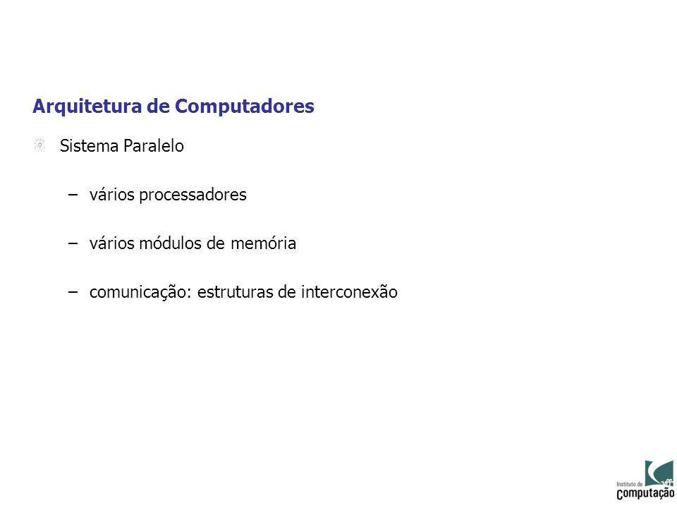 Arquitetura de Computadores Sistema Paralelo –vários processadores –vários módulos de memória –comunicação: estruturas de interconexão