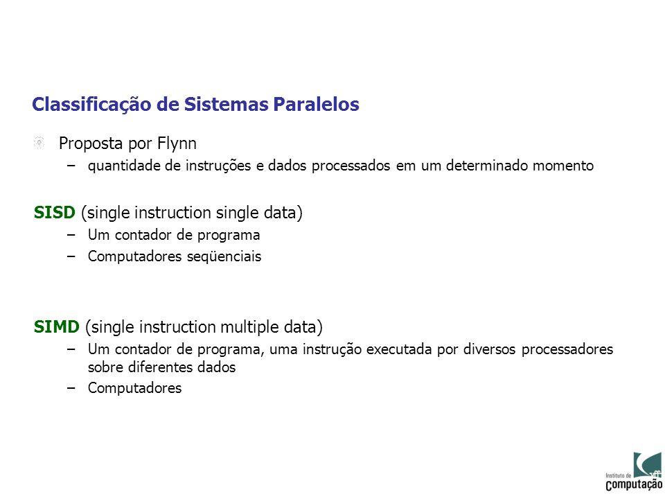 Classificação de Sistemas Paralelos Proposta por Flynn –quantidade de instruções e dados processados em um determinado momento SISD (single instructio