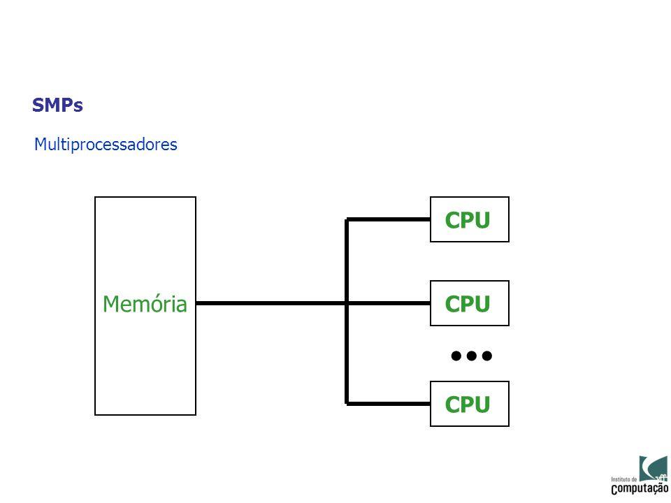 SMPs Multiprocessadores Memória CPU... CPU