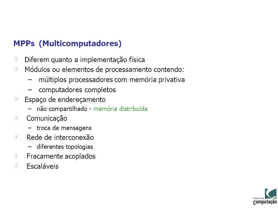 MPPs (Multicomputadores) Diferem quanto a implementação física Módulos ou elementos de processamento contendo: – múltiplos processadores com memória p