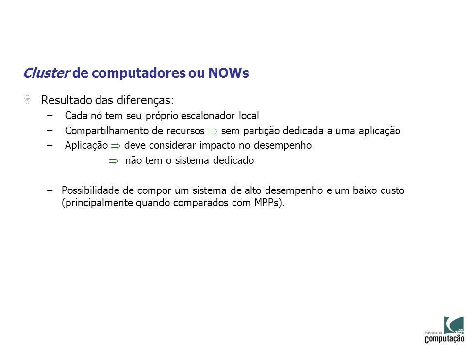 Cluster de computadores ou NOWs Resultado das diferenças: – Cada nó tem seu próprio escalonador local – Compartilhamento de recursos sem partição dedi