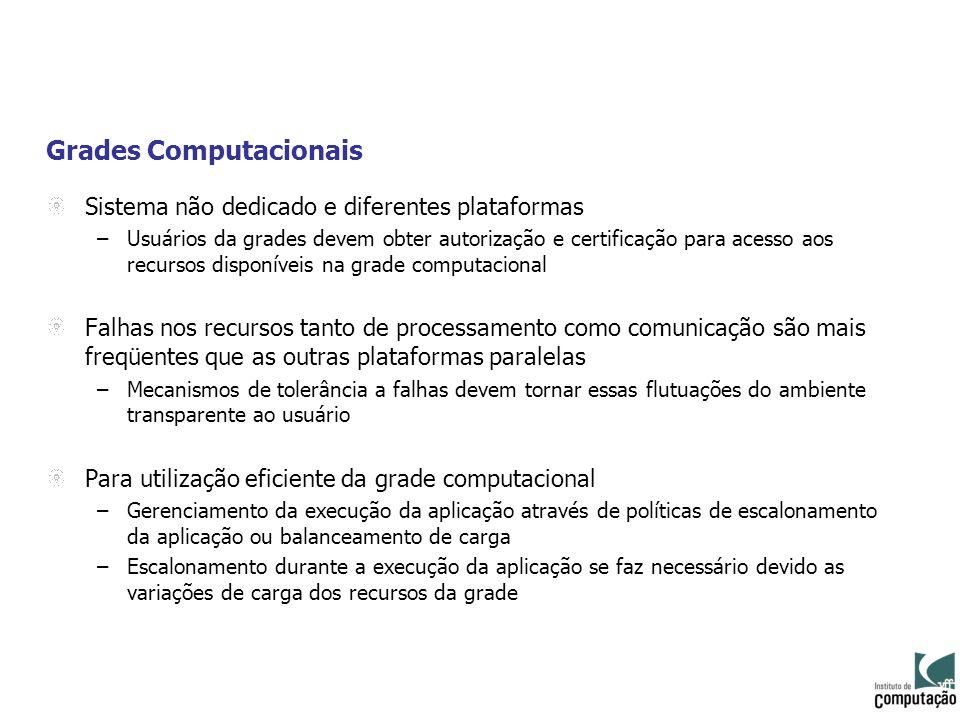 Grades Computacionais Sistema não dedicado e diferentes plataformas –Usuários da grades devem obter autorização e certificação para acesso aos recurso