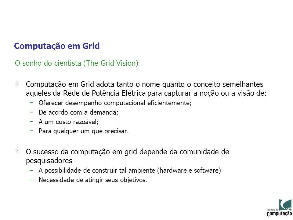 Computação em Grid O sonho do cientista (The Grid Vision) Computação em Grid adota tanto o nome quanto o conceito semelhantes aqueles da Rede de Potên