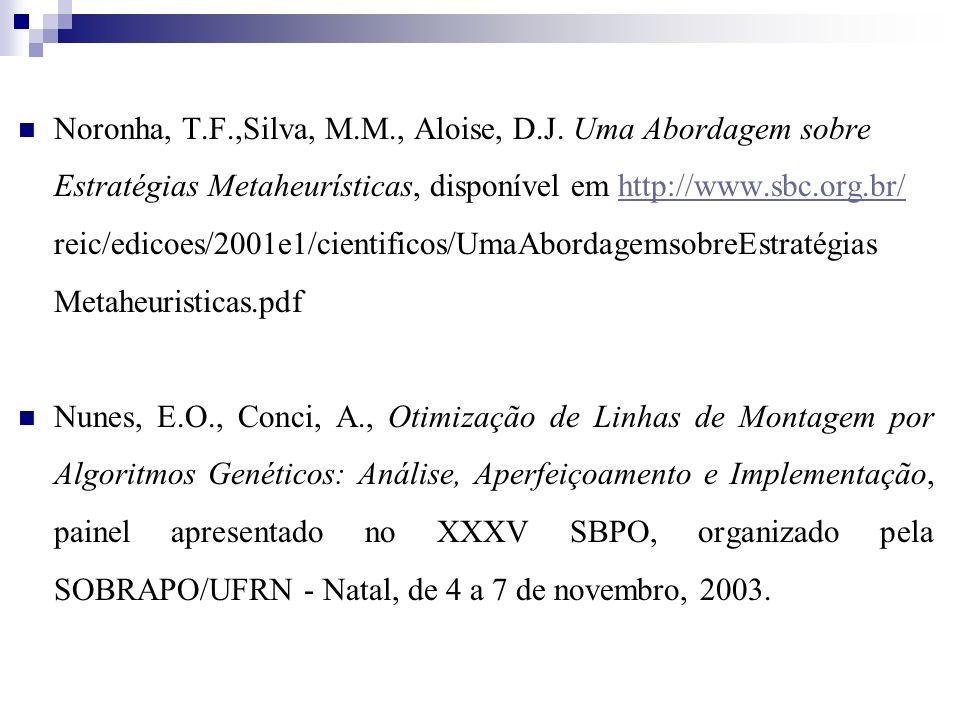 Noronha, T.F.,Silva, M.M., Aloise, D.J. Uma Abordagem sobre Estratégias Metaheurísticas, disponível em http://www.sbc.org.br/ reic/edicoes/2001e1/cien