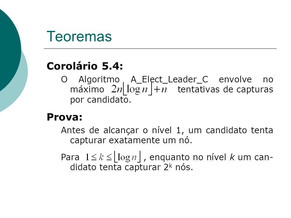 Teoremas Corolário 5.4: O Algoritmo A_Elect_Leader_C envolve no máximo tentativas de capturas por candidato. Prova: Antes de alcançar o nível 1, um ca