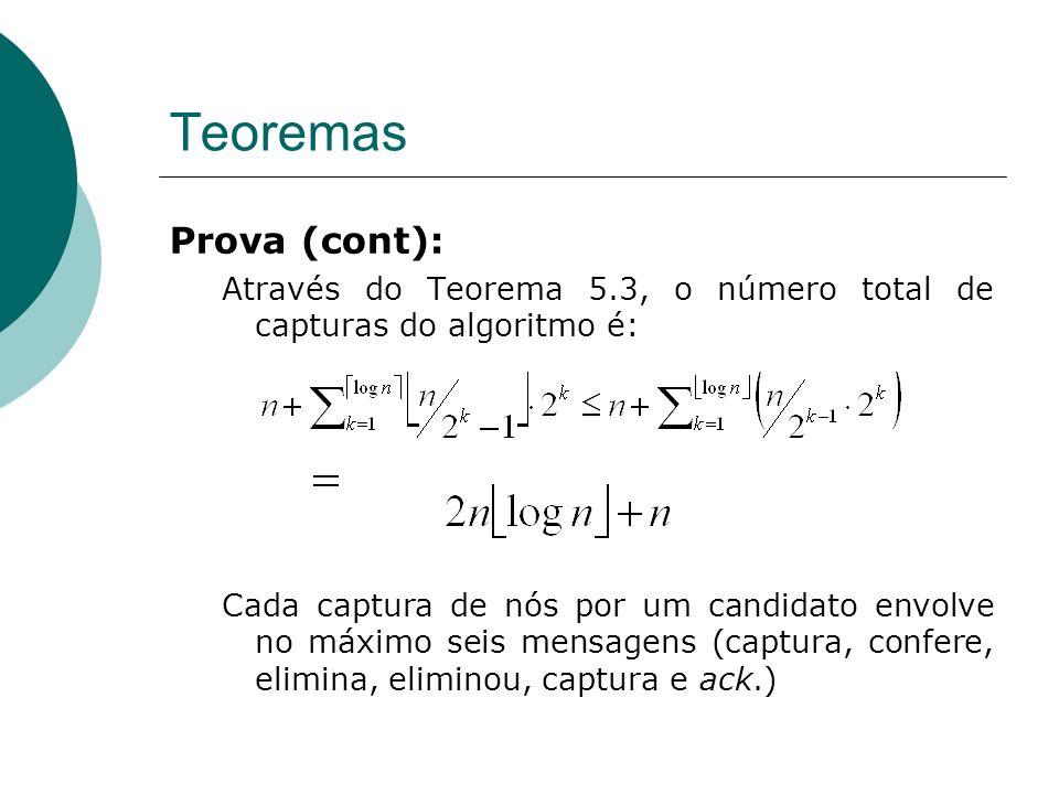 Teoremas Prova (cont): Através do Teorema 5.3, o número total de capturas do algoritmo é: Cada captura de nós por um candidato envolve no máximo seis mensagens (captura, confere, elimina, eliminou, captura e ack.)