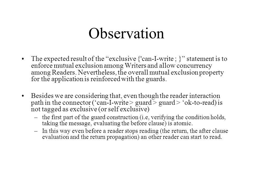 Verificações a) Escritores acessam o recurso compartilhado em exclusão mútua com Leitores e outros Escritores.