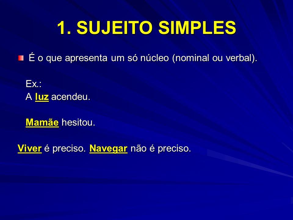 1. SUJEITO SIMPLES É o que apresenta um só núcleo (nominal ou verbal). Ex.: Ex.: A luz acendeu. A luz acendeu. Mamãe hesitou. Mamãe hesitou. Viver é p