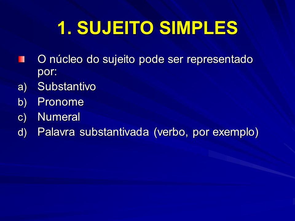1. SUJEITO SIMPLES O núcleo do sujeito pode ser representado por: a) Substantivo b) Pronome c) Numeral d) Palavra substantivada (verbo, por exemplo)