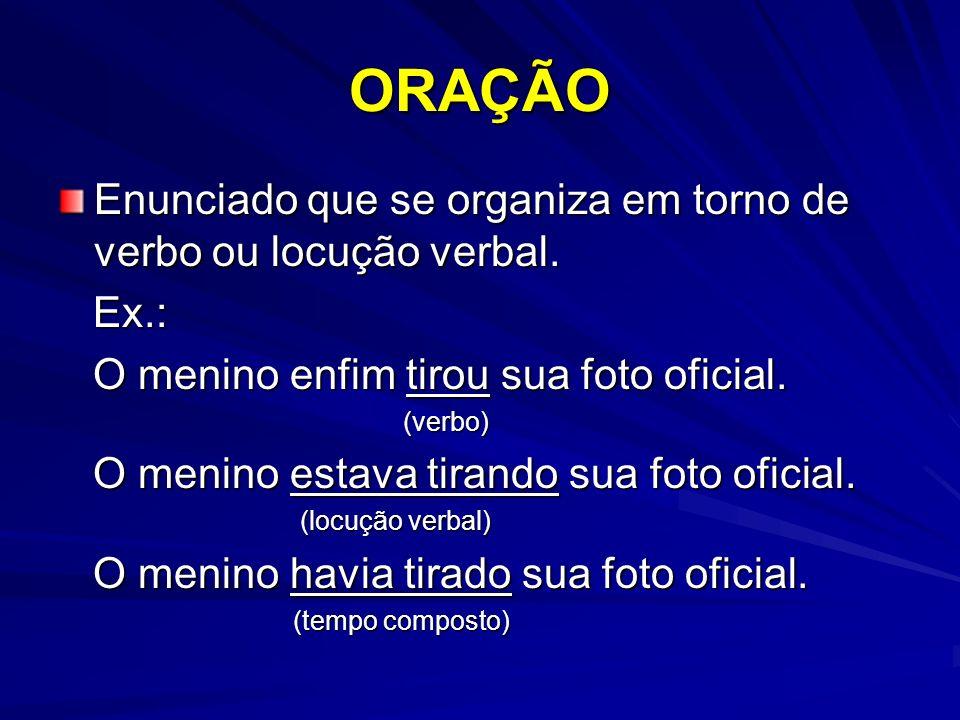 PERÍODO Frase organizada em torno de oração ou de orações.