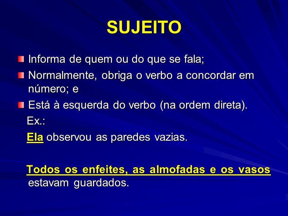 SUJEITO Informa de quem ou do que se fala; Normalmente, obriga o verbo a concordar em número; e Está à esquerda do verbo (na ordem direta). Ex.: Ex.: