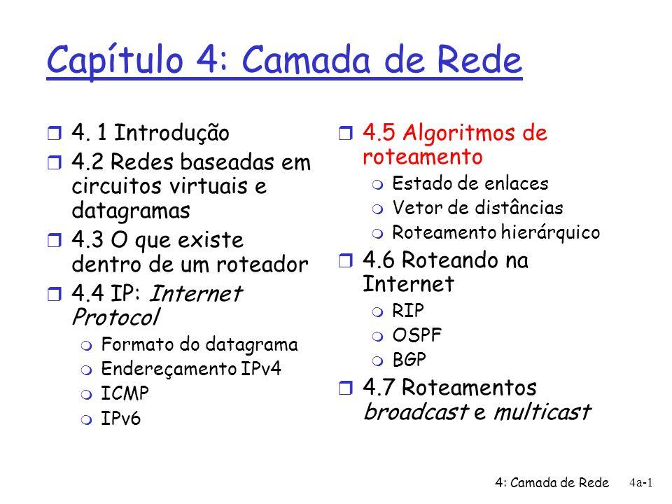 4: Camada de Rede 4a-12 Algoritmo de Dijkstra: exemplo Step 0 1 2 3 N u ux uxy uxyv D(v),p(v) 2,u D(w),p(w) 5,u 4,x 3,y D(x),p(x) 1,u D(y),p(y) 2,x D(z),p(z) 4,y u y x wv z 2 2 1 3 1 1 2 5 3 5 1 Inicialização: 2 N = {u} 3 para todos os nós v 4 se v for adjacente ao nó u 5 então D(v) = c(u,v) 6 senão D(v) = 7 8 Repete 9 determina w não contido em N tal que D(w) é o mínimo 10 adiciona w ao conjunto N 11 atualiza D(v) para todo v adjacente ao nó w e ainda não em N: 12 D(v) = min( D(v), D(w) + c(w,v) ) 13 /* novo custo ao nó v ou é o custo velho a v ou o custo do 14 menor caminho ao nó w, mais o custo de w a v */ 15 até que todos nós estejam em N D(w) = min(D(w), D(v) + c(v,w)) = min(3,2+3)