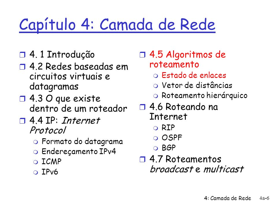 4: Camada de Rede 4a-47 OSPF (Open Shortest Path First) r open (aberto): publicamente disponível r Usa algoritmo do Estado de Enlaces m disseminação de pacotes EE m mapa da topologia a cada nó m cálculo de rotas usando o algoritmo de Dijkstra r Anúncio de OSPF inclui uma entrada por roteador vizinho r Anúncios disseminados para SA inteiro (via inundação) m Carregados em mensagens OSPF diretamente sobre IP (ao invés de TCP ou UDP)