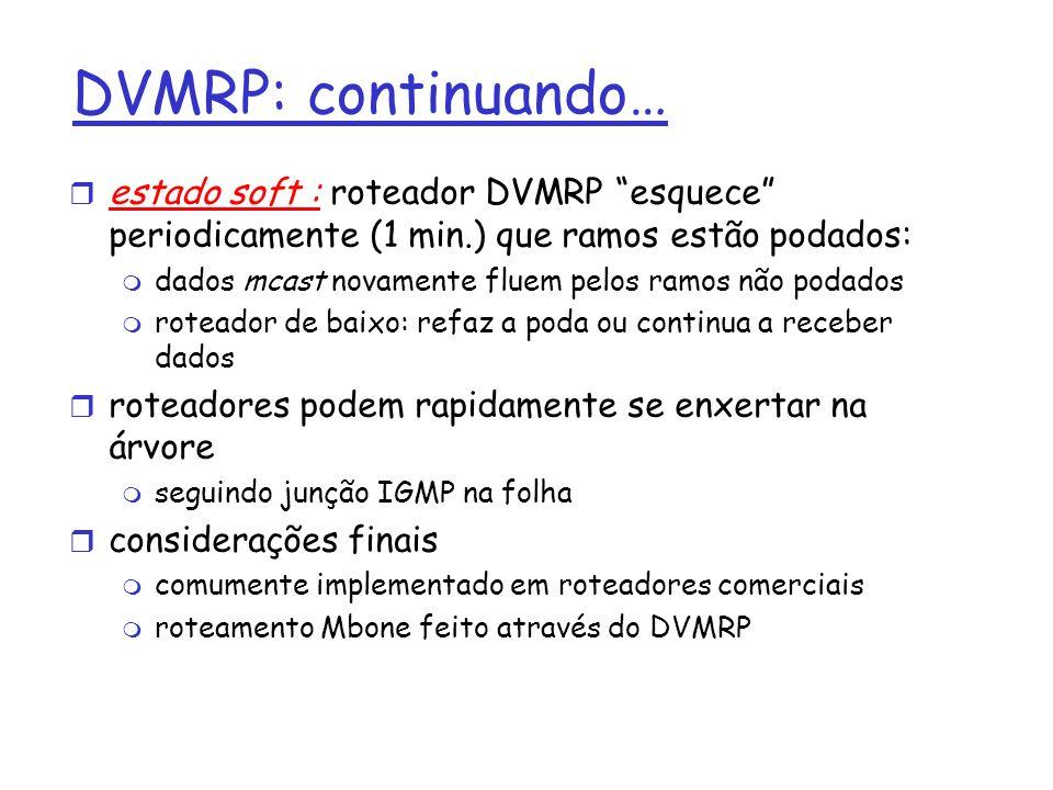 DVMRP: continuando… r estado soft : roteador DVMRP esquece periodicamente (1 min.) que ramos estão podados: m dados mcast novamente fluem pelos ramos