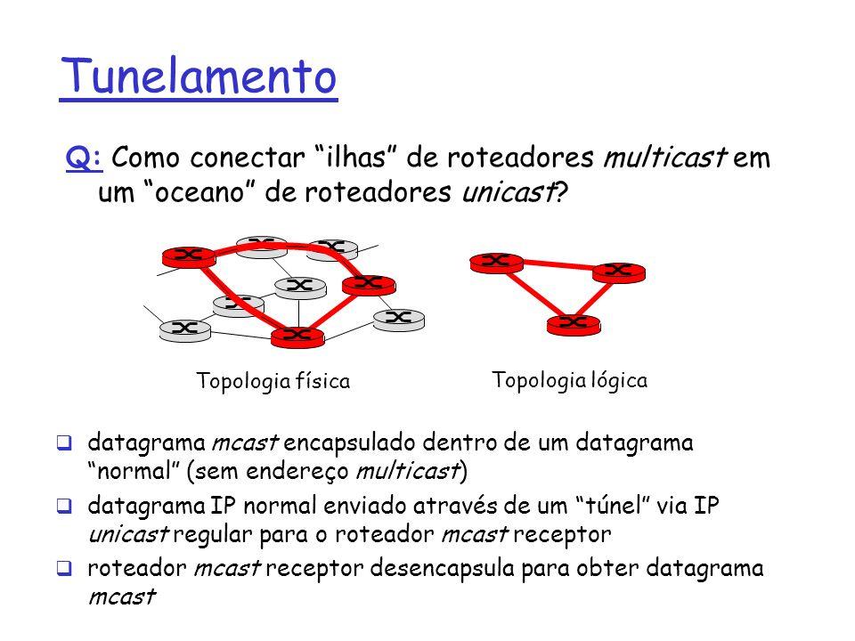 Tunelamento Q: Como conectar ilhas de roteadores multicast em um oceano de roteadores unicast? datagrama mcast encapsulado dentro de um datagrama norm