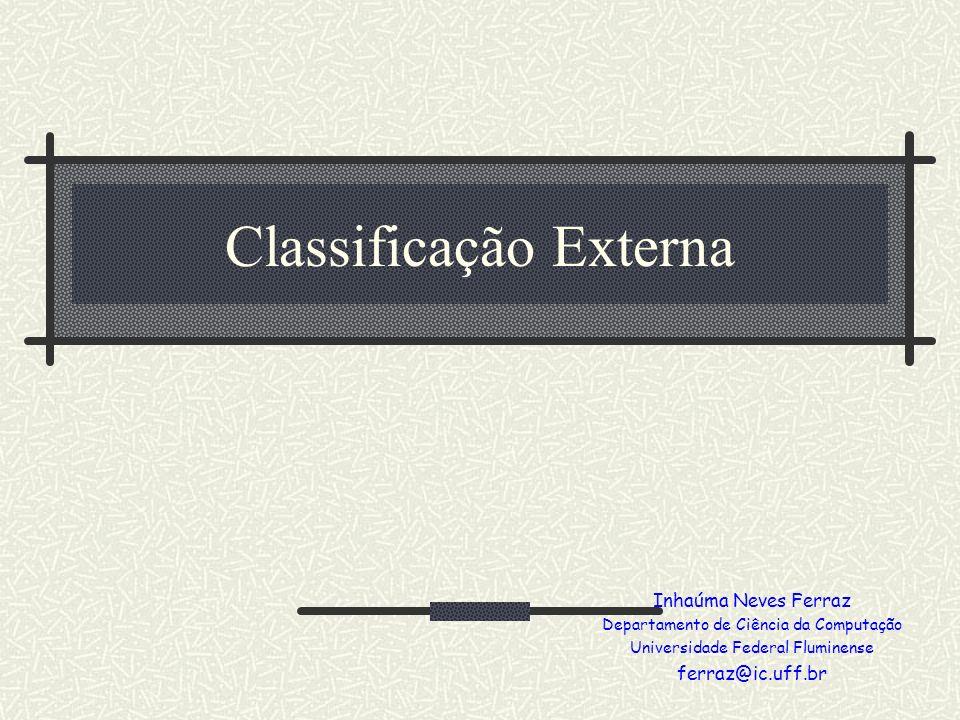 Classificação Externa Inhaúma Neves Ferraz Departamento de Ciência da Computação Universidade Federal Fluminense ferraz@ic.uff.br