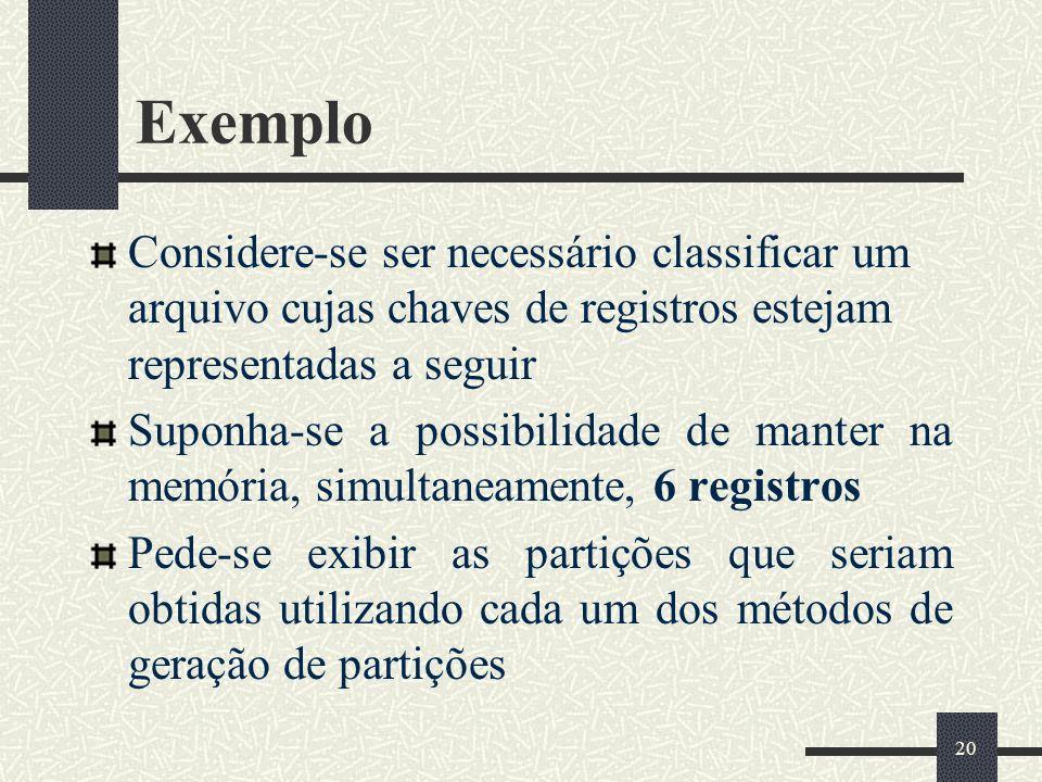 20 Exemplo Considere-se ser necessário classificar um arquivo cujas chaves de registros estejam representadas a seguir Suponha-se a possibilidade de m