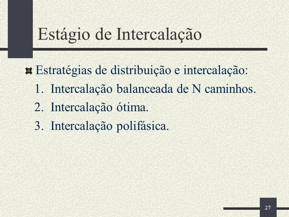 27 Estágio de Intercalação Estratégias de distribuição e intercalação: 1. Intercalação balanceada de N caminhos. 2. Intercalação ótima. 3. Intercalaçã