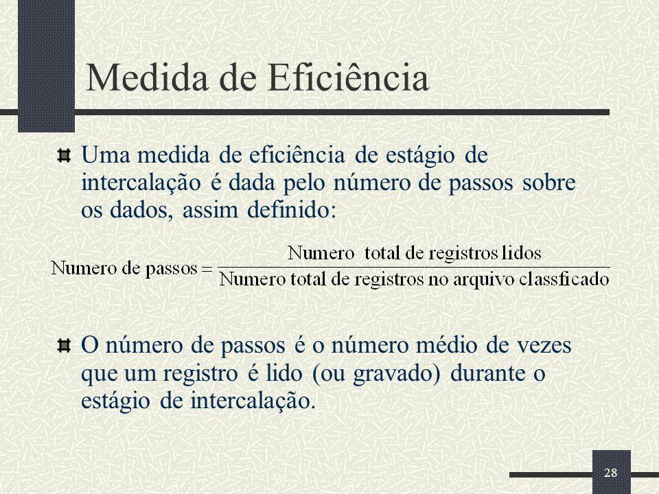 28 Medida de Eficiência Uma medida de eficiência de estágio de intercalação é dada pelo número de passos sobre os dados, assim definido: O número de passos é o número médio de vezes que um registro é lido (ou gravado) durante o estágio de intercalação.