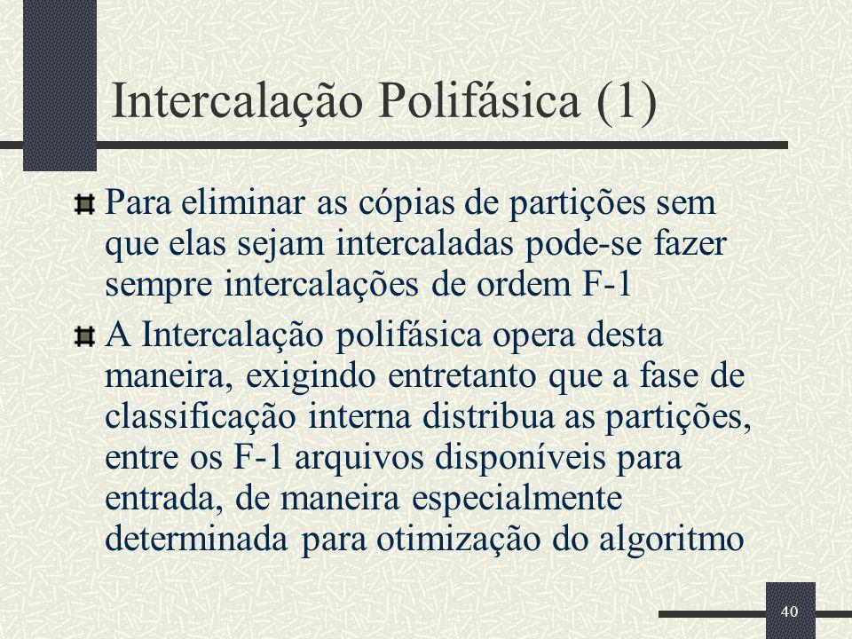 40 Intercalação Polifásica (1) Para eliminar as cópias de partições sem que elas sejam intercaladas pode-se fazer sempre intercalações de ordem F-1 A