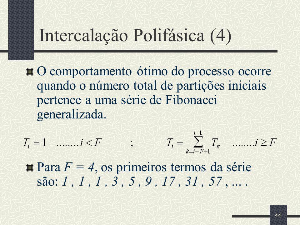 44 Intercalação Polifásica (4) O comportamento ótimo do processo ocorre quando o número total de partições iniciais pertence a uma série de Fibonacci generalizada.