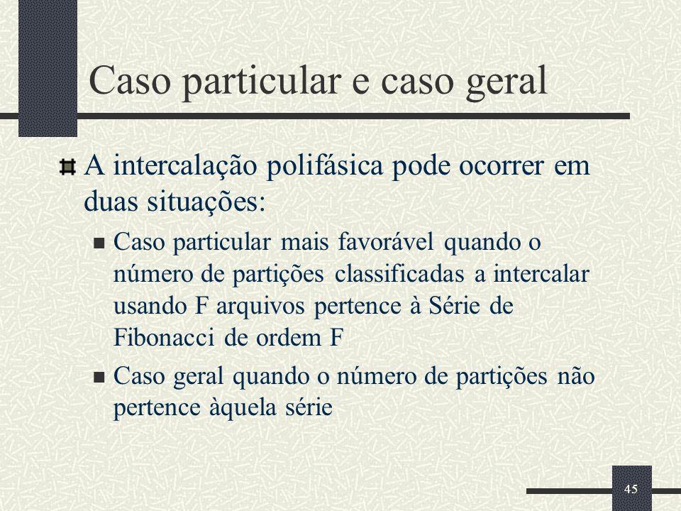 45 Caso particular e caso geral A intercalação polifásica pode ocorrer em duas situações: Caso particular mais favorável quando o número de partições