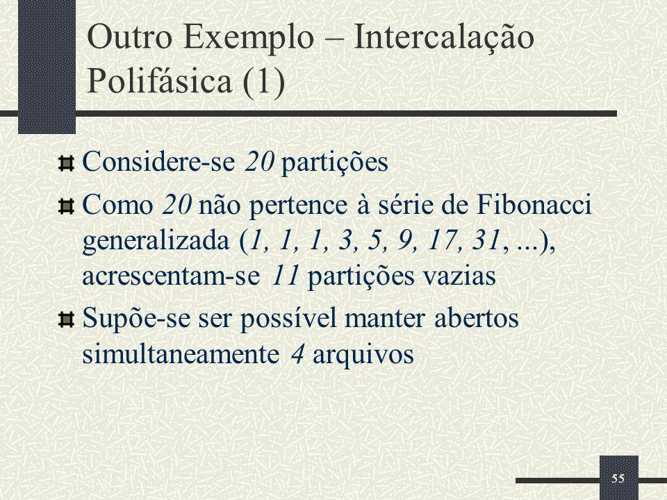 55 Outro Exemplo – Intercalação Polifásica (1) Considere-se 20 partições Como 20 não pertence à série de Fibonacci generalizada (1, 1, 1, 3, 5, 9, 17, 31,...), acrescentam-se 11 partições vazias Supõe-se ser possível manter abertos simultaneamente 4 arquivos