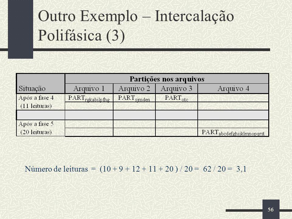 56 Outro Exemplo – Intercalação Polifásica (3) Número de leituras = (10 + 9 + 12 + 11 + 20 ) / 20 = 62 / 20 = 3,1