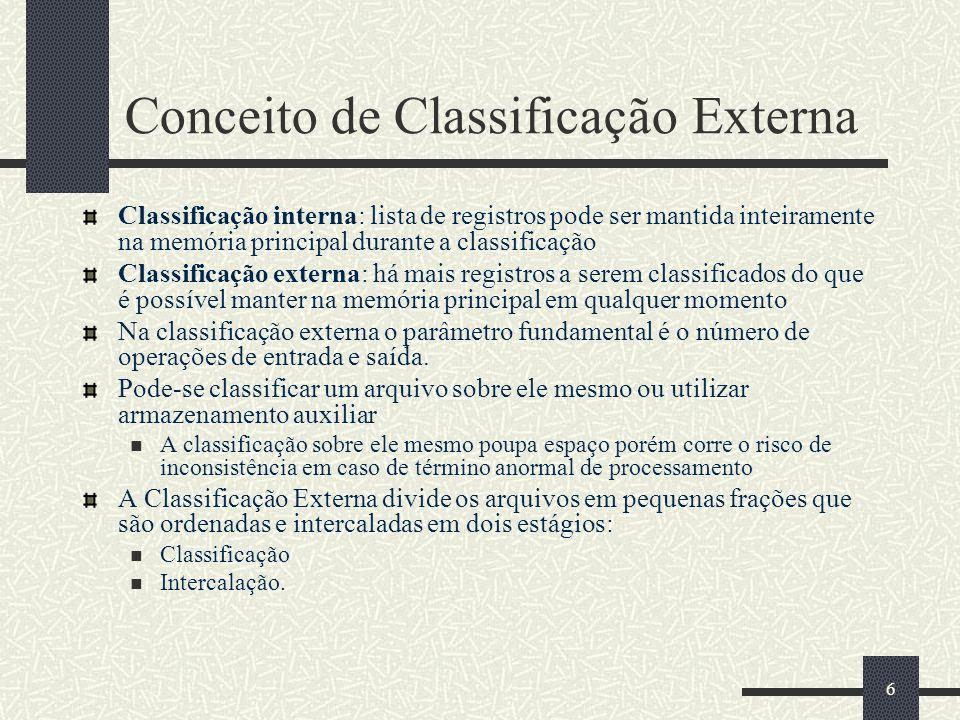 6 Conceito de Classificação Externa Classificação interna: lista de registros pode ser mantida inteiramente na memória principal durante a classificação Classificação externa: há mais registros a serem classificados do que é possível manter na memória principal em qualquer momento Na classificação externa o parâmetro fundamental é o número de operações de entrada e saída.